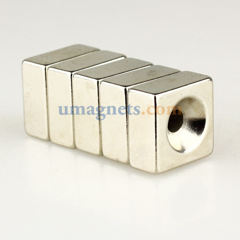 20mm x 20mm x 10mm hole 5mm n35 super strong block rare for Super strong magnets for crafts
