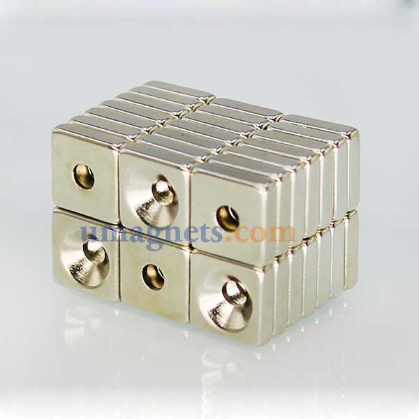 10mm x 10mm x 3mm thick with Countersunk Hole 3mm N35 Strong Block Rectangle Countersunk Magnets Nickel Plated