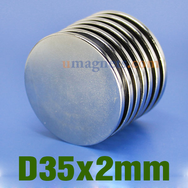 2pcs n35 35mmx2mm neodymium disc magnets strong ndfeb rare for Thin magnets for crafts