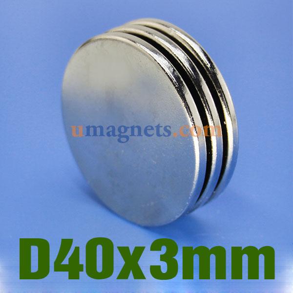 N42 40mmx3mm Neodymium (NdFeB) Rare Earth Disc Magnets