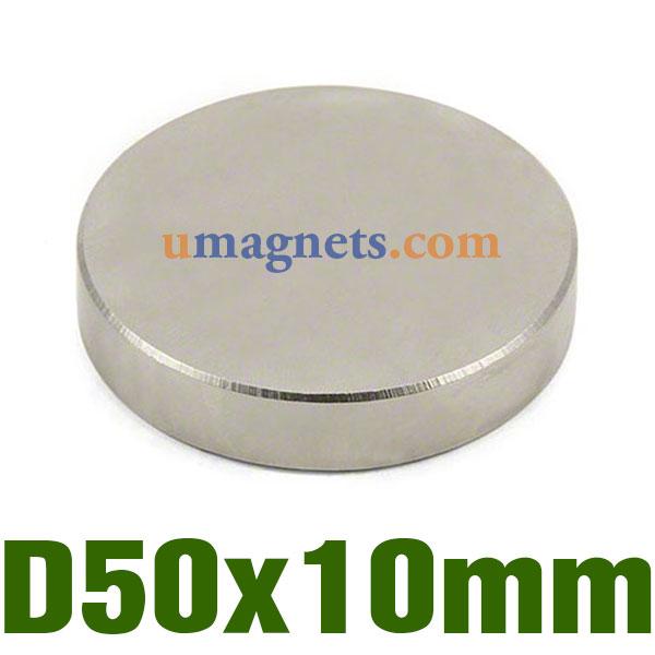 50mm dia x 10mm thick ultra high performance n52 neodymium magnet