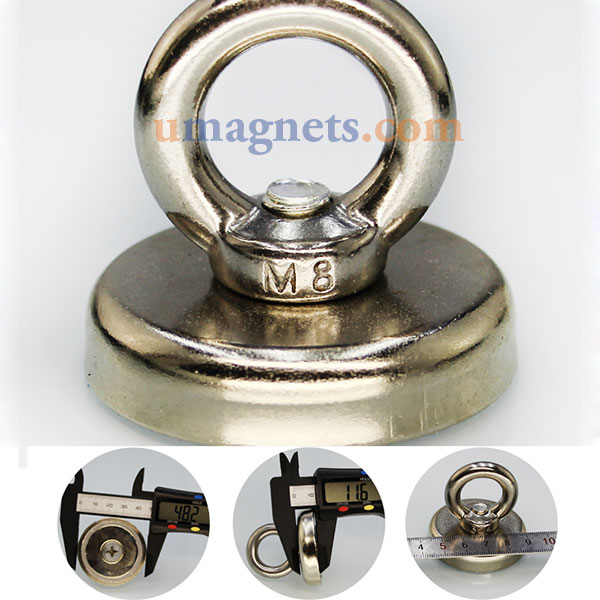 48mm dia neodymium clamping magnet with m8 eyebolt fishing for Magnet fishing tips