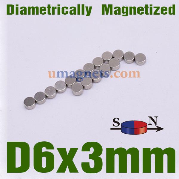 6mmx3mm Neodymium Disc Magnets N35 Diametrically Magnetized Radial Neodymium Magnets Zinc-Coated (6 x 3mm)