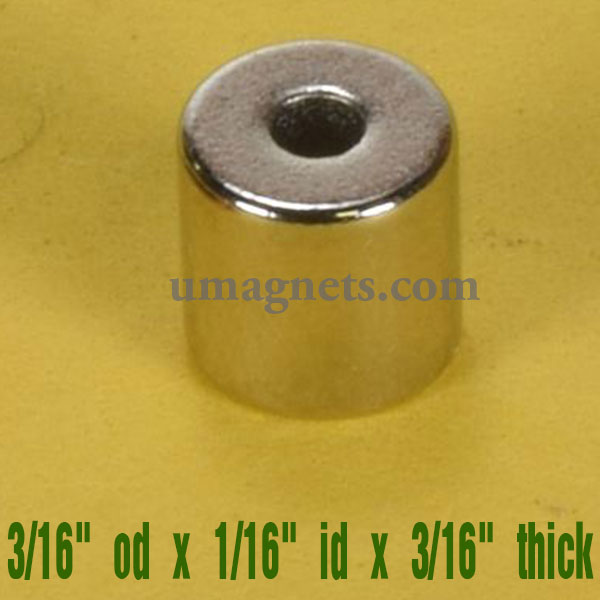 "3/16"" od x 1/16"" id x 3/16"" thick N42 Neodymium Ring Magnets ring magnets home depot Sale Amazon"