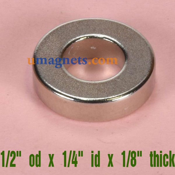 """12.7mm od x 6.35mm id x 3.18mm thick N42 Neodymium Ring Magnets Strong Tube Magnets Sale(1/2"""" od x 1/4"""" id x 1/8"""" thick)"""