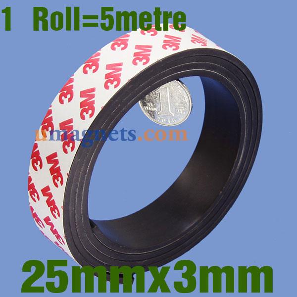 Icke gamla 25mm x 3 mm Fleksible Adhesive magnetbånd med 3M selvklæbende TI-55