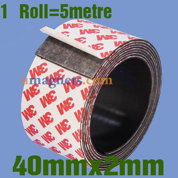 Toppen 40mm x 2 mm flexibelt lim magnetband med 3M Självhäftande LM-93