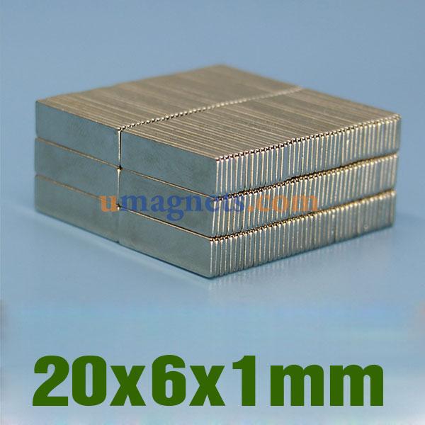 20mm x 6mm x 1mm neodymium block magnets